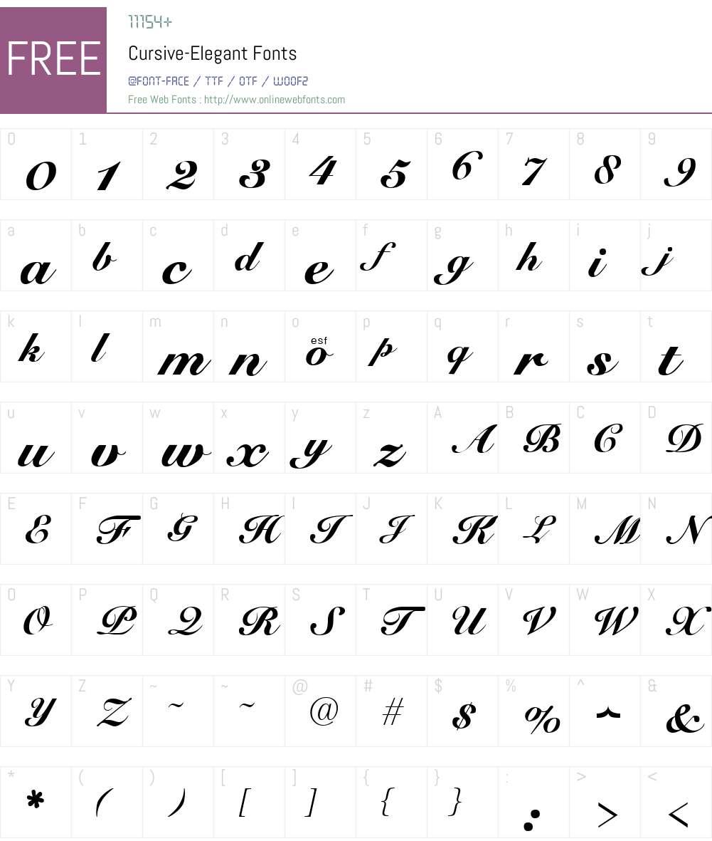 Cursive-Elegant Font Screenshots