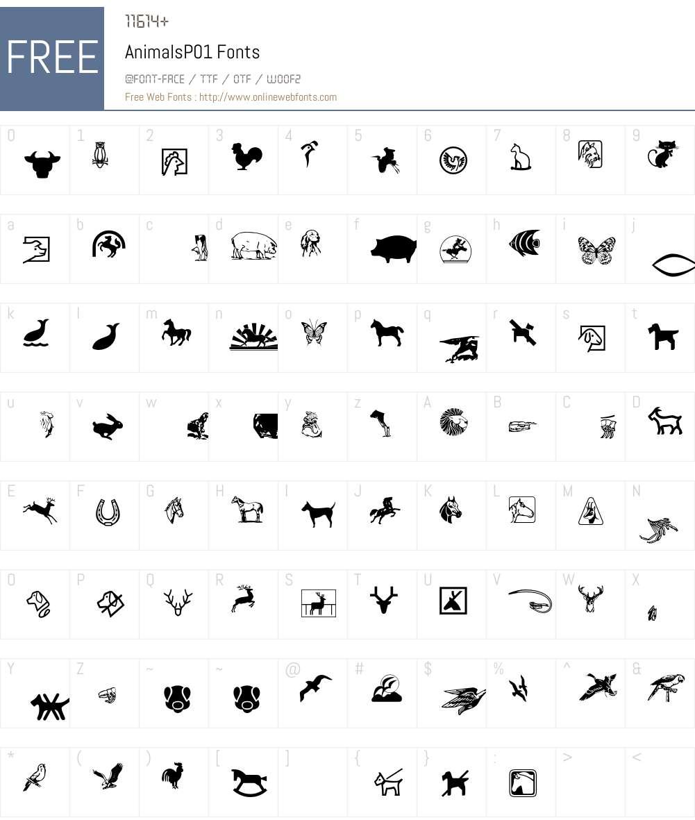 Animals Font Screenshots
