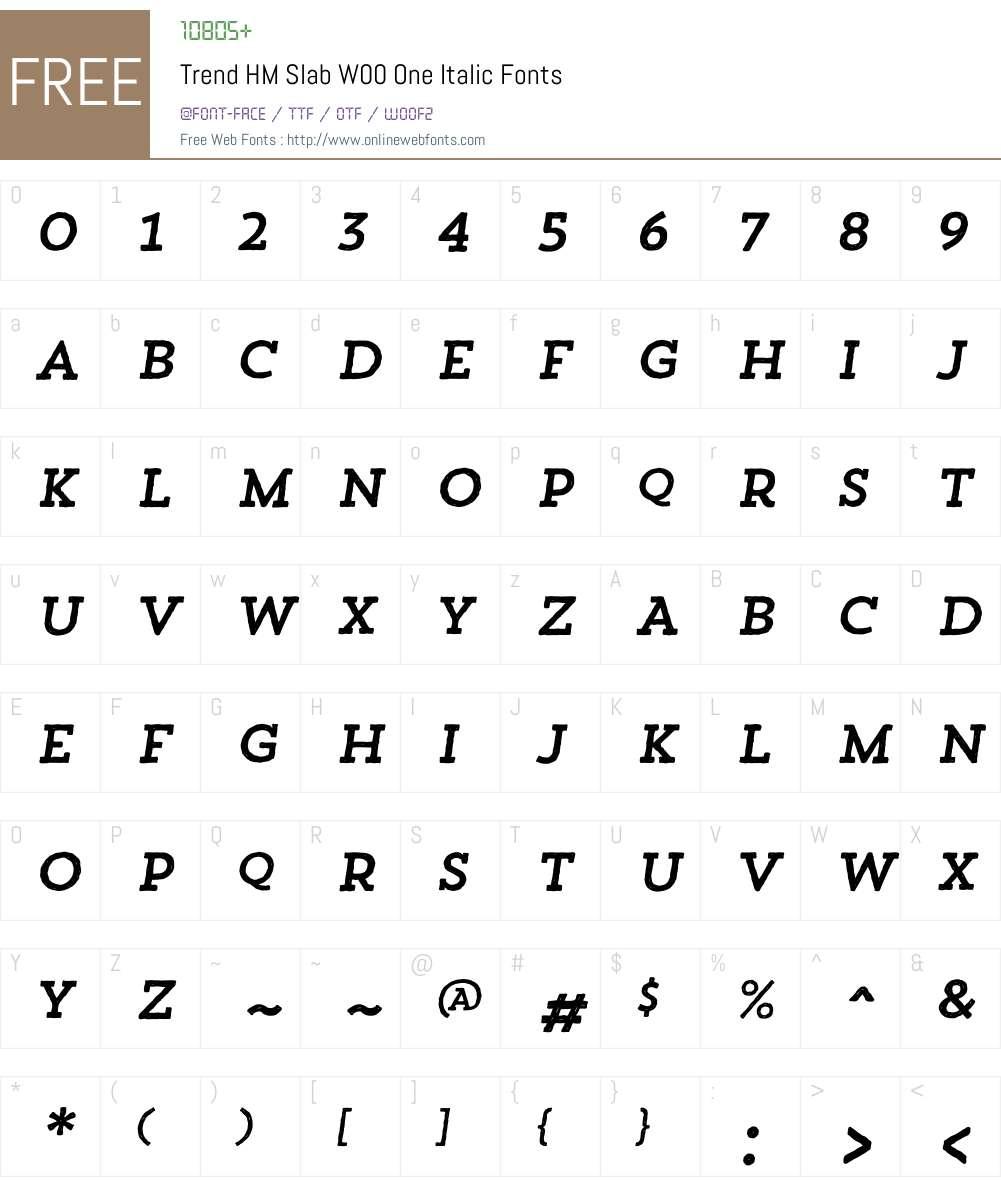 TrendHMSlabW00-OneItalic Font Screenshots