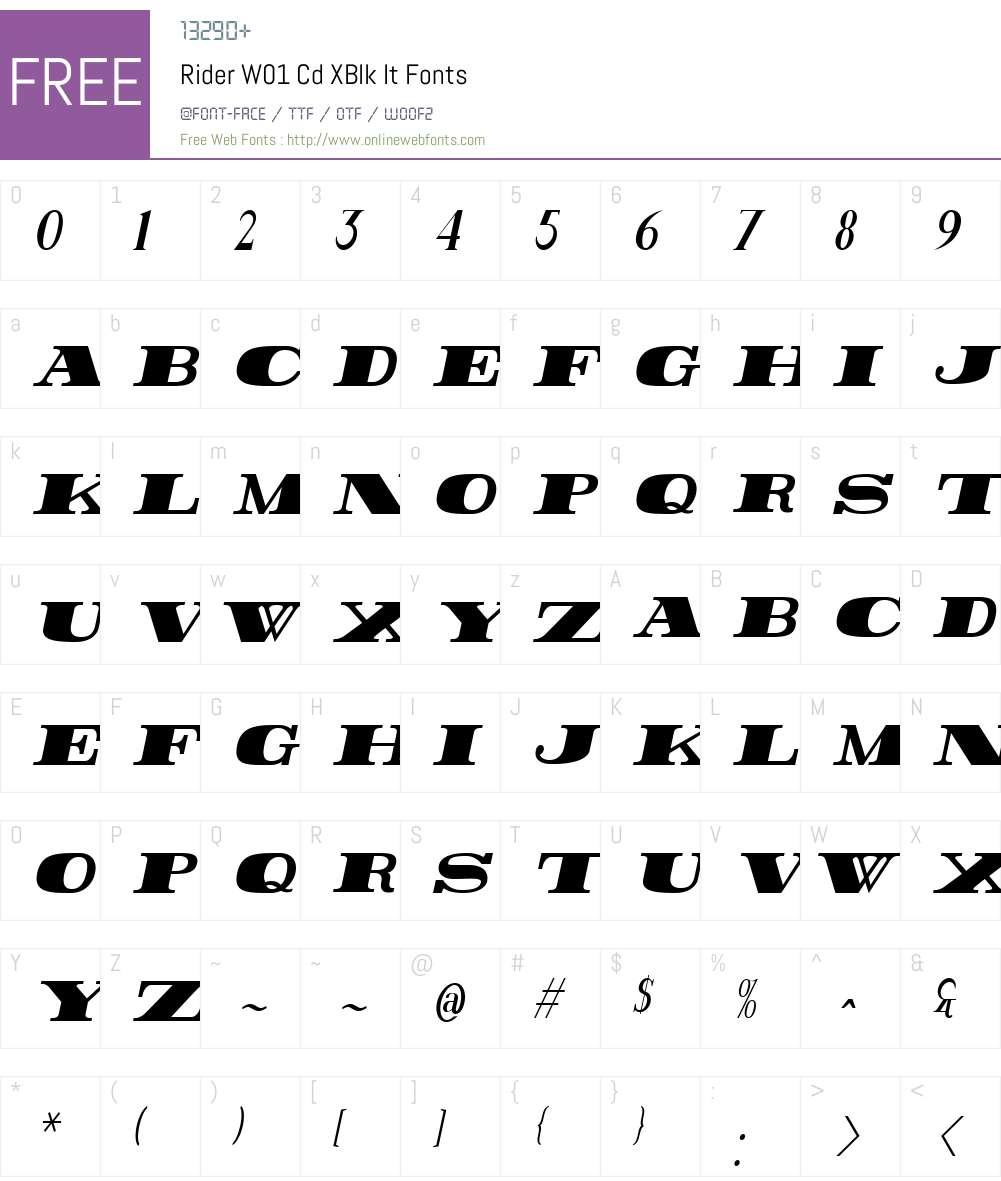RiderW01-CdXBlkIt Font Screenshots