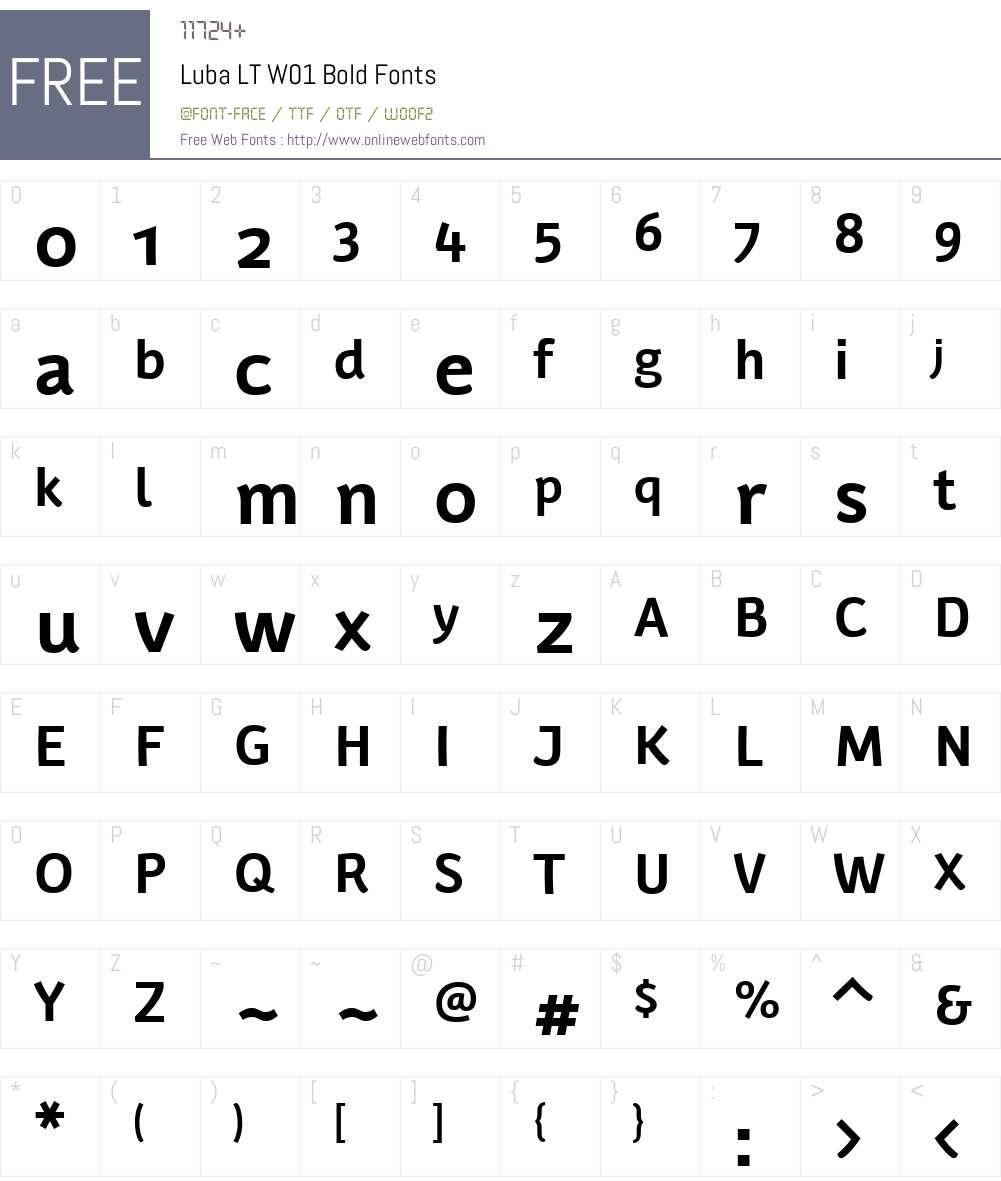 LubaLTW01-Bold Font Screenshots
