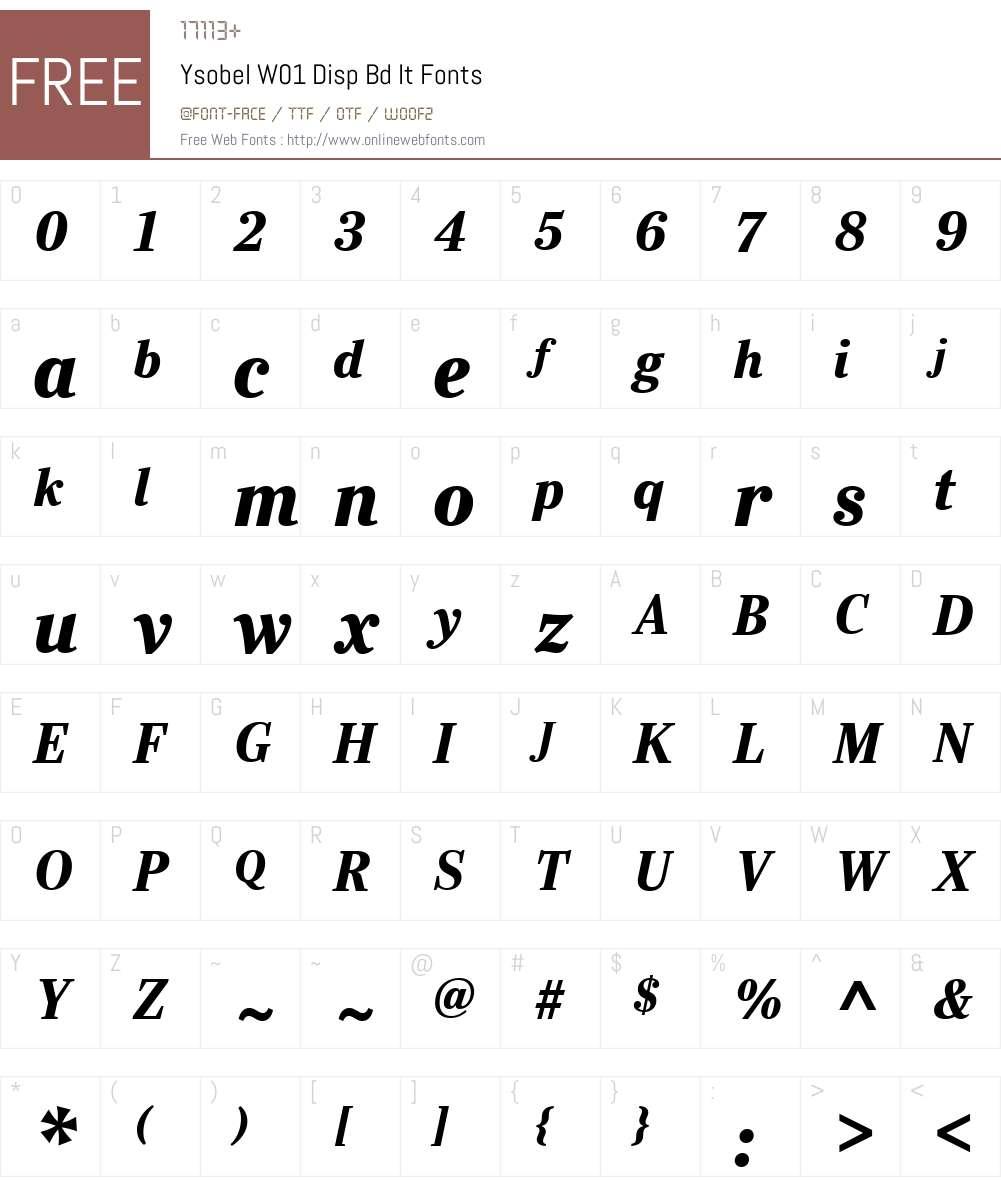 YsobelW01-DispBdIt Font Screenshots