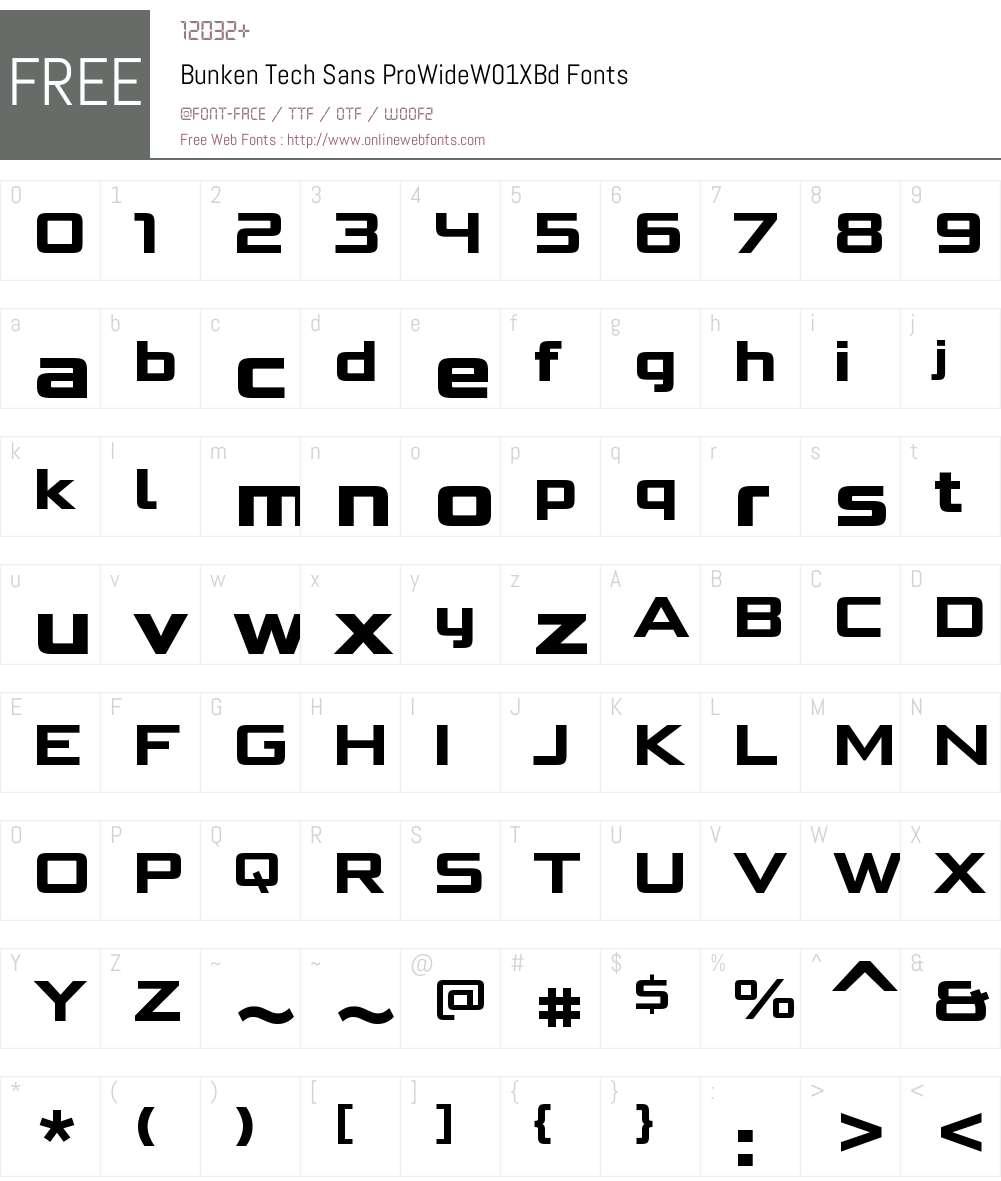 BunkenTechSansProWideW01-XBd Font Screenshots