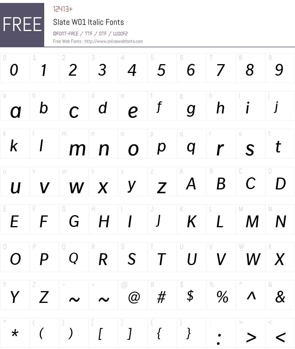 SlateW01-Italic Font Screenshots