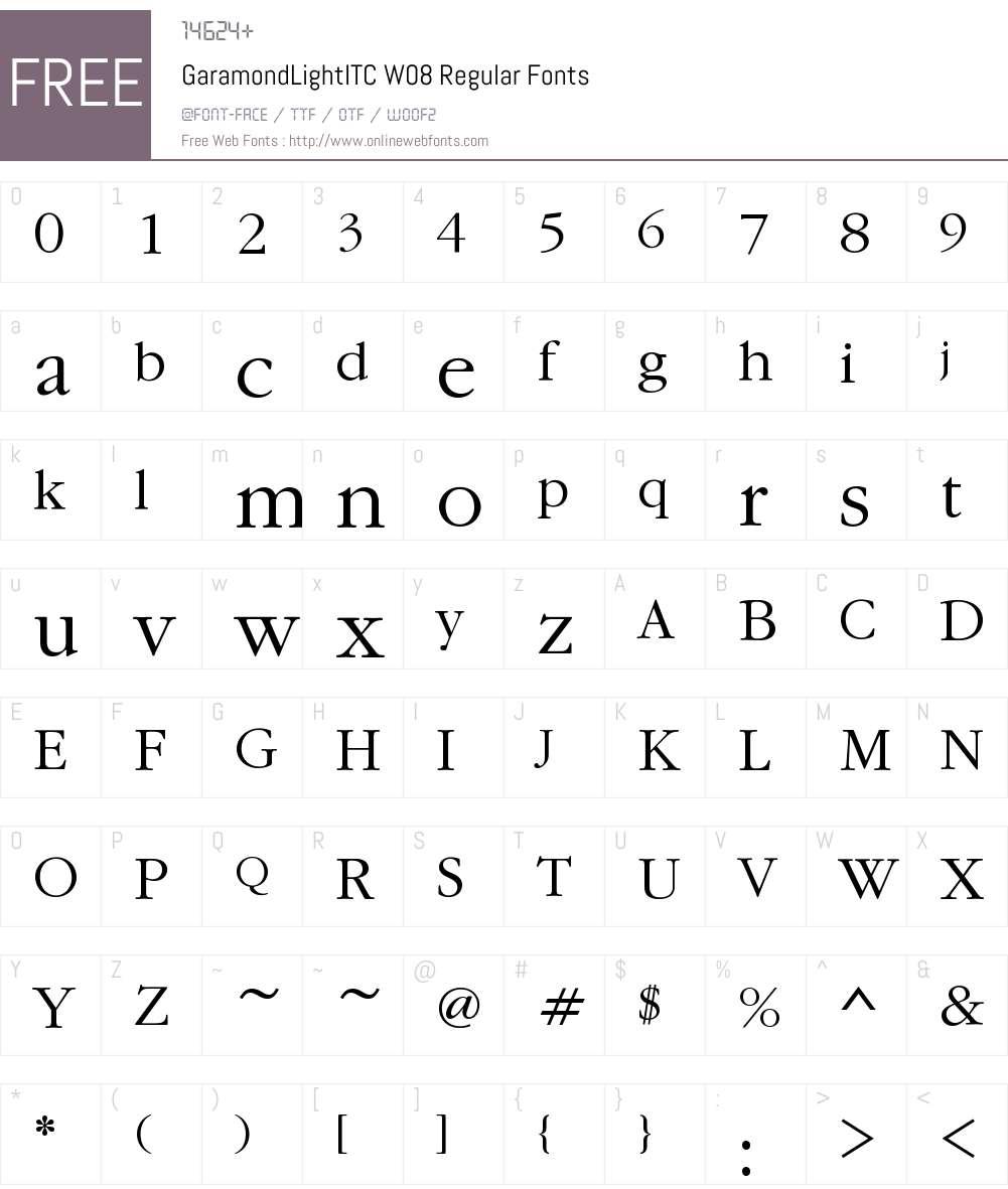 GaramondLightITCW08-Regular Font Screenshots