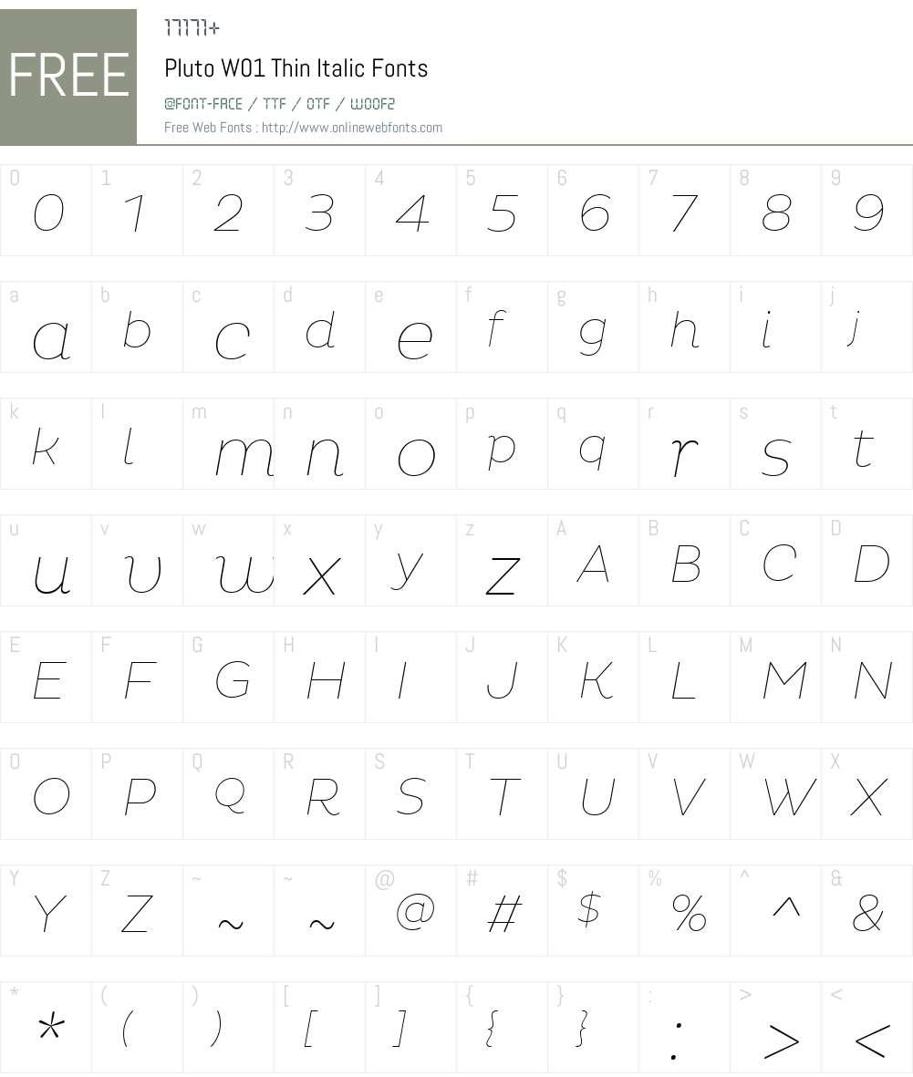 PlutoW01-ThinItalic Font Screenshots