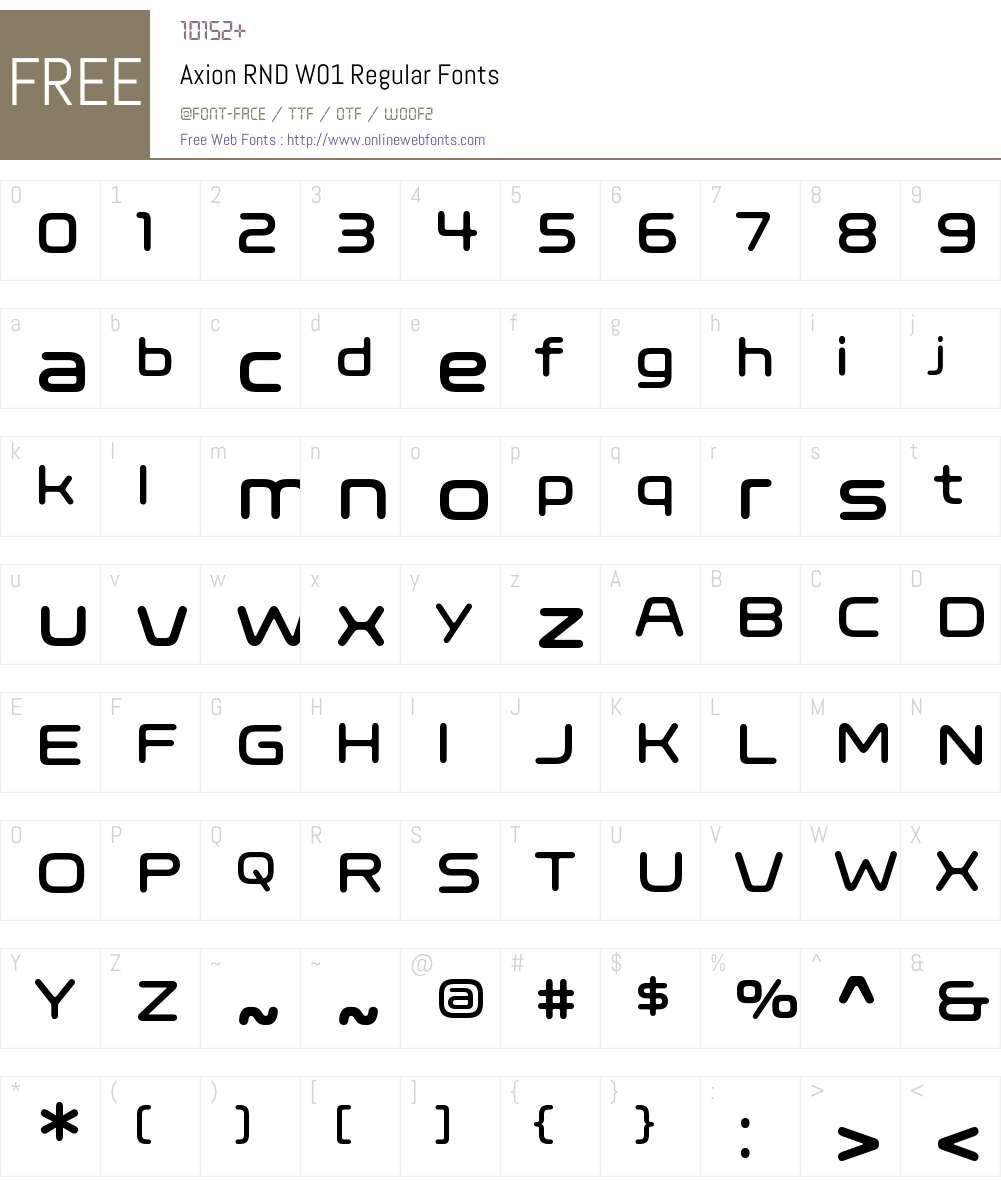 AxionRNDW01-Regular Font Screenshots