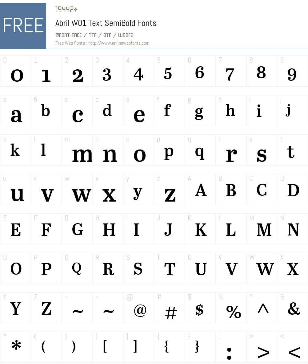 AbrilW01-TextSemiBold Font Screenshots