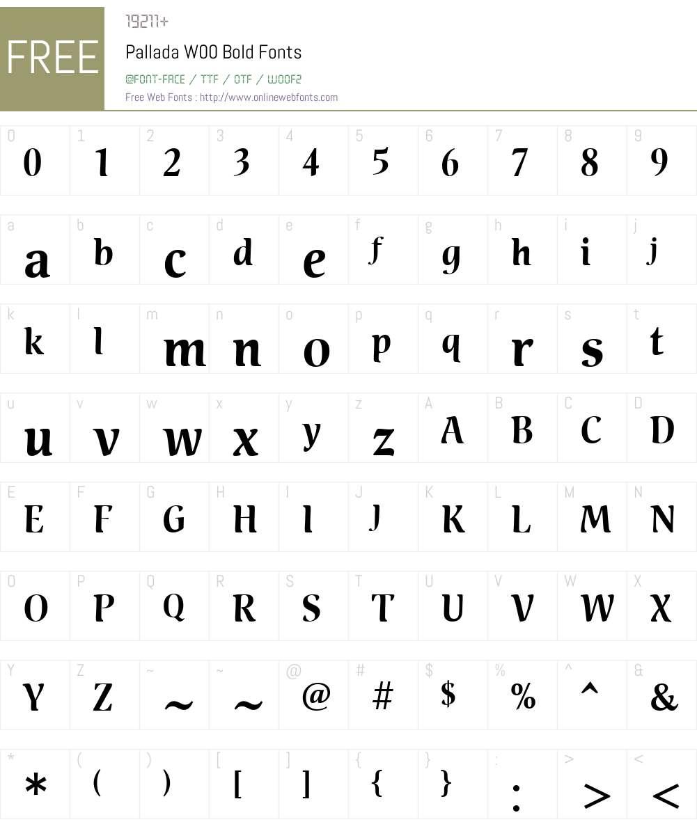 PalladaW00-Bold Font Screenshots