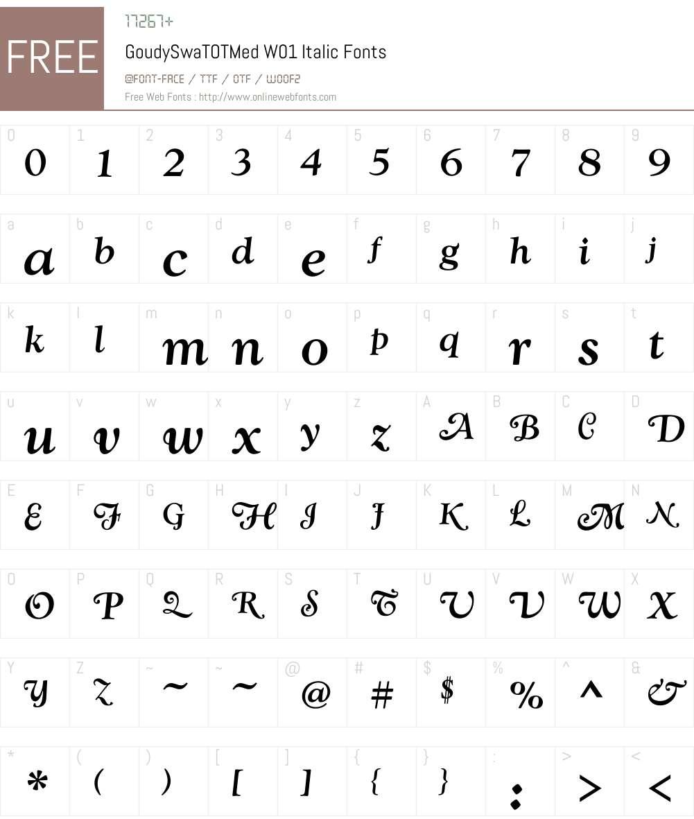 GoudySwaTOTMedW01-Italic Font Screenshots