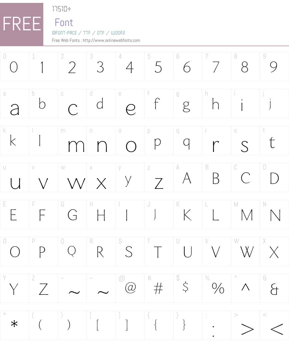 Enzia Thin Font Screenshots