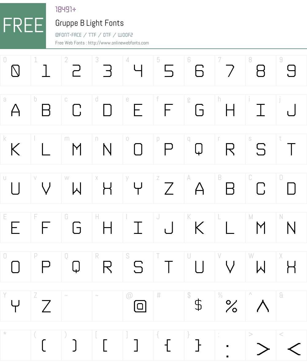 Gruppe B Font Screenshots