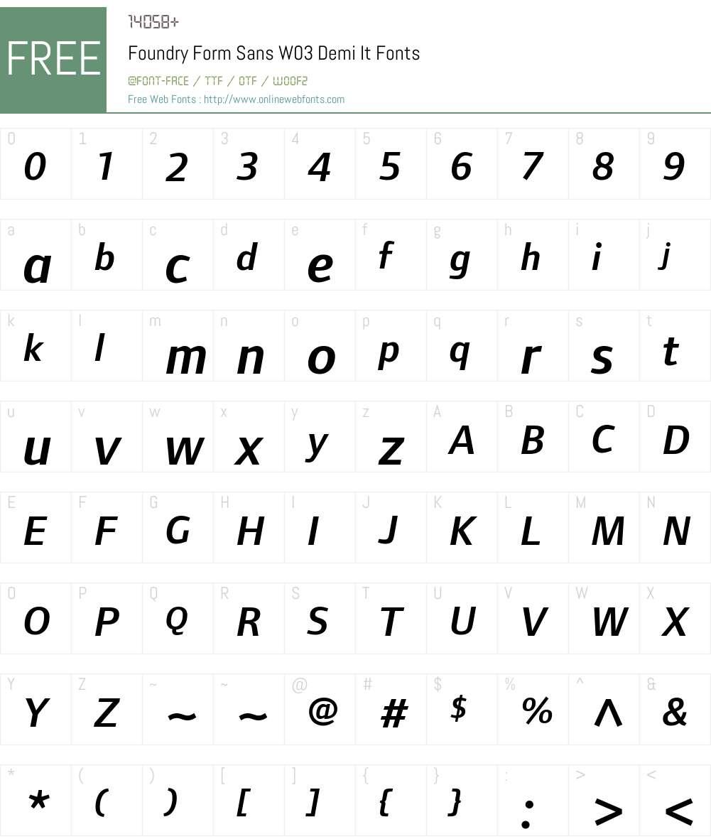 Foundry Form Sans Font Screenshots