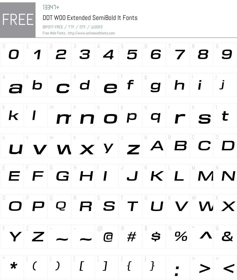 DDTW00-ExtendedSemiBoldIt Font Screenshots
