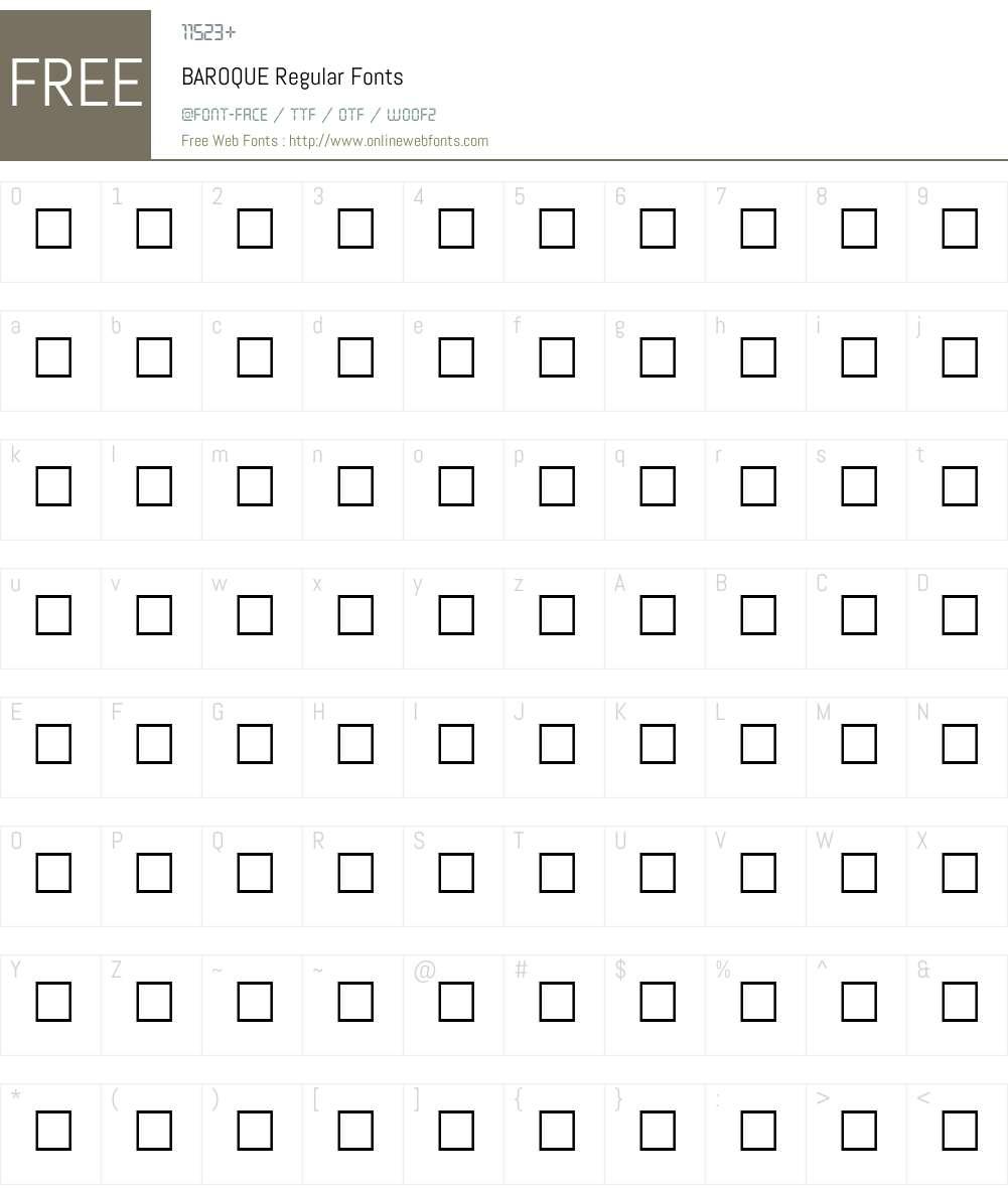 BAROQUE Font Screenshots