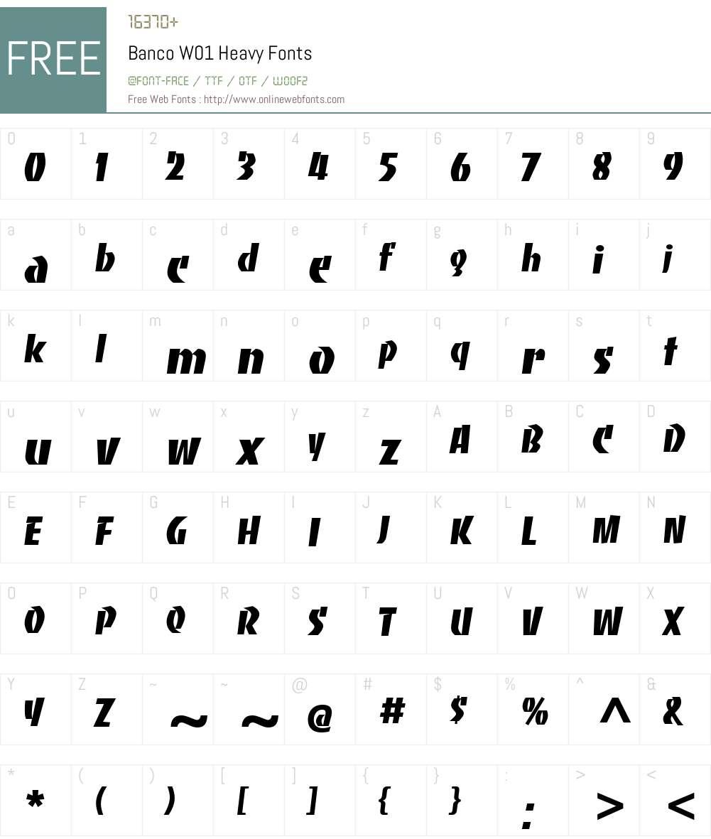 BancoW01-Heavy Font Screenshots