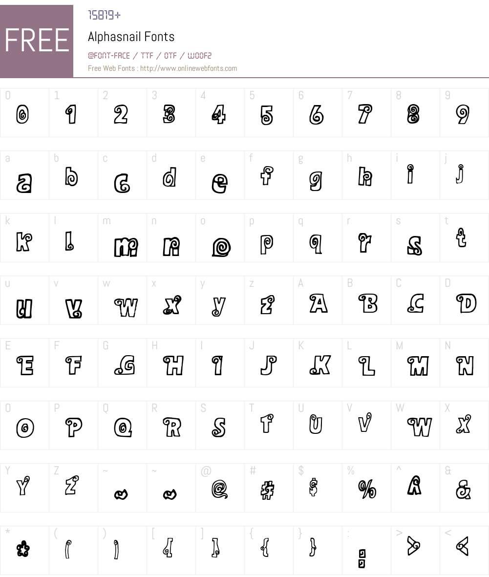 Alphasnail Font Screenshots