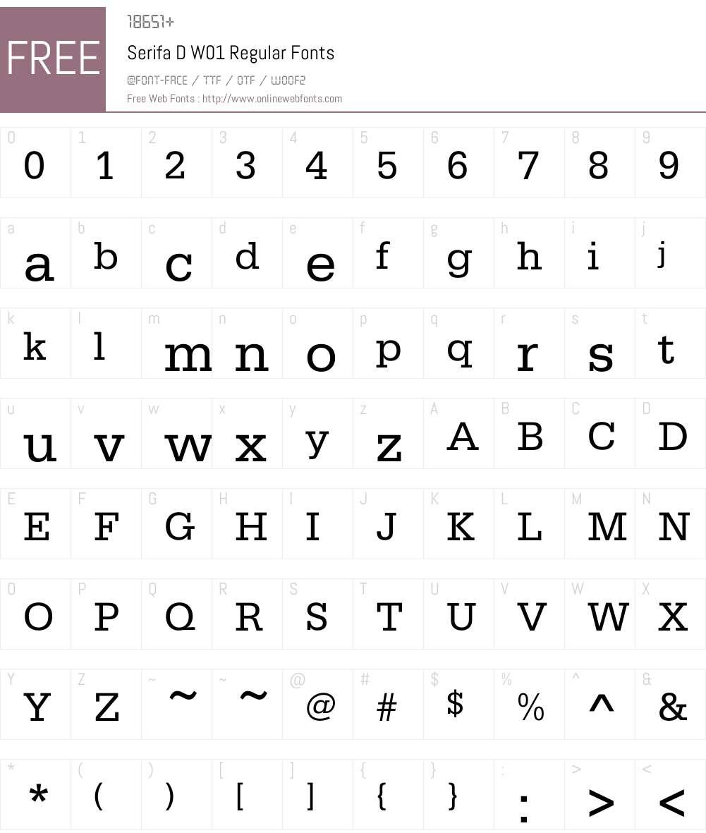 SerifaDW01-Regular Font Screenshots