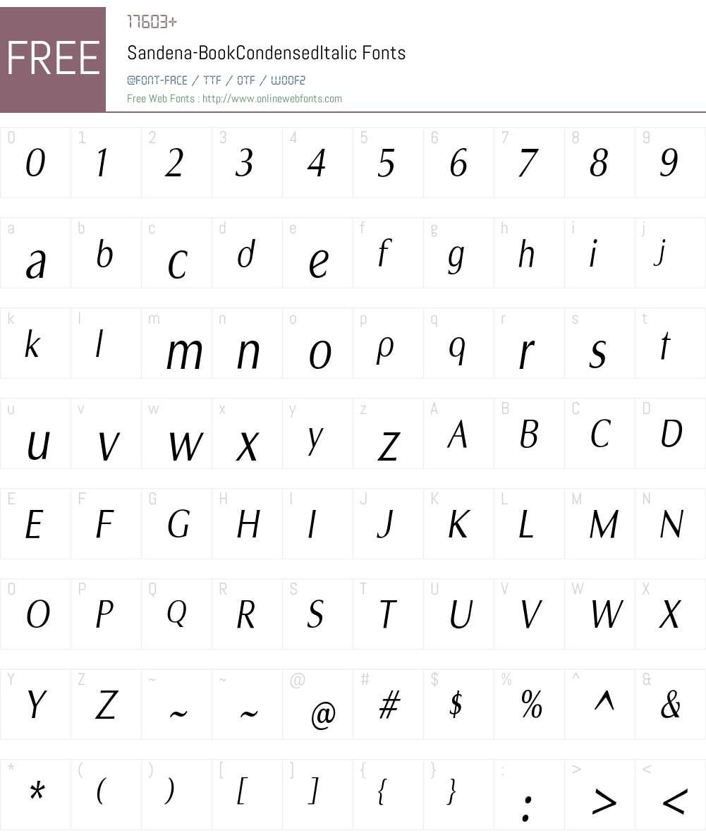 Sandena Book Cond Italic Font Screenshots