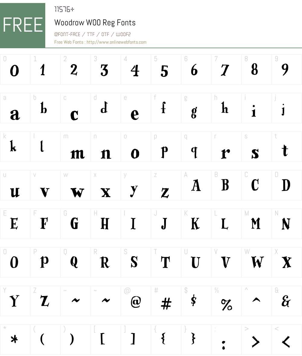 WoodrowW00-Reg Font Screenshots