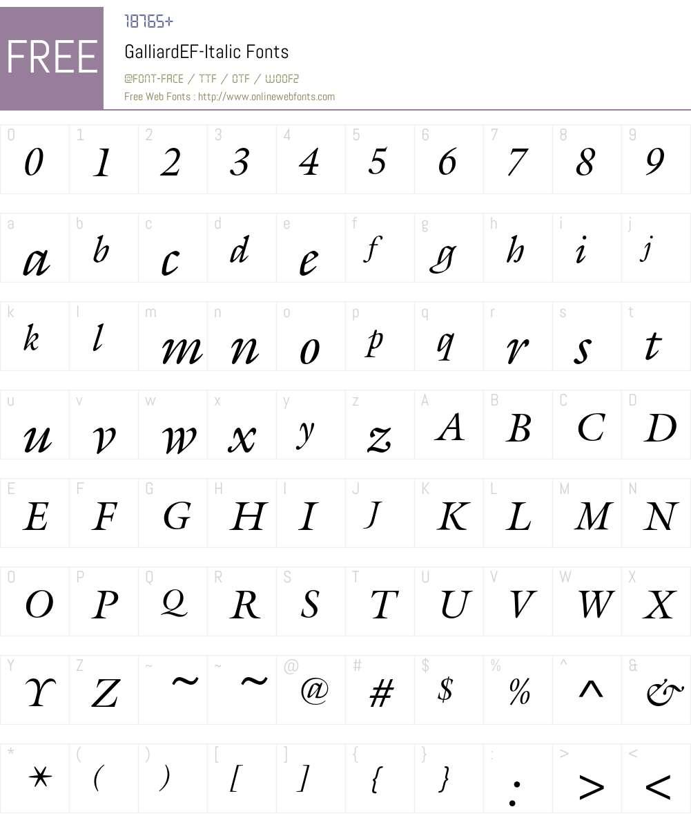 GalliardEF-Italic Font Screenshots