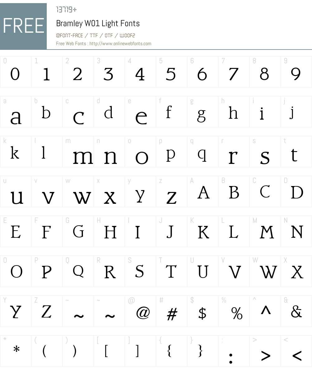 BramleyW01-Light Font Screenshots