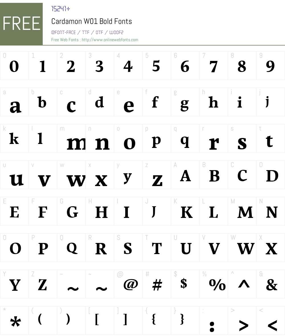 CardamonW01-Bold Font Screenshots