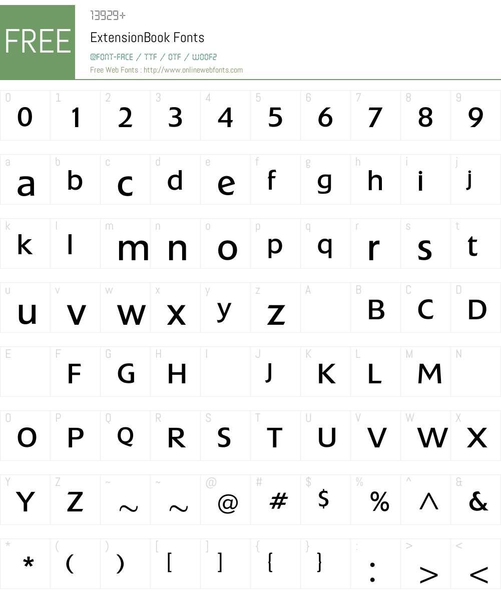 ExtensionBook Font Screenshots