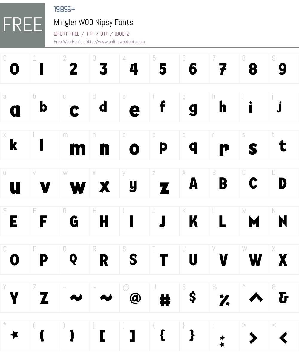 MinglerW00-Nipsy Font Screenshots