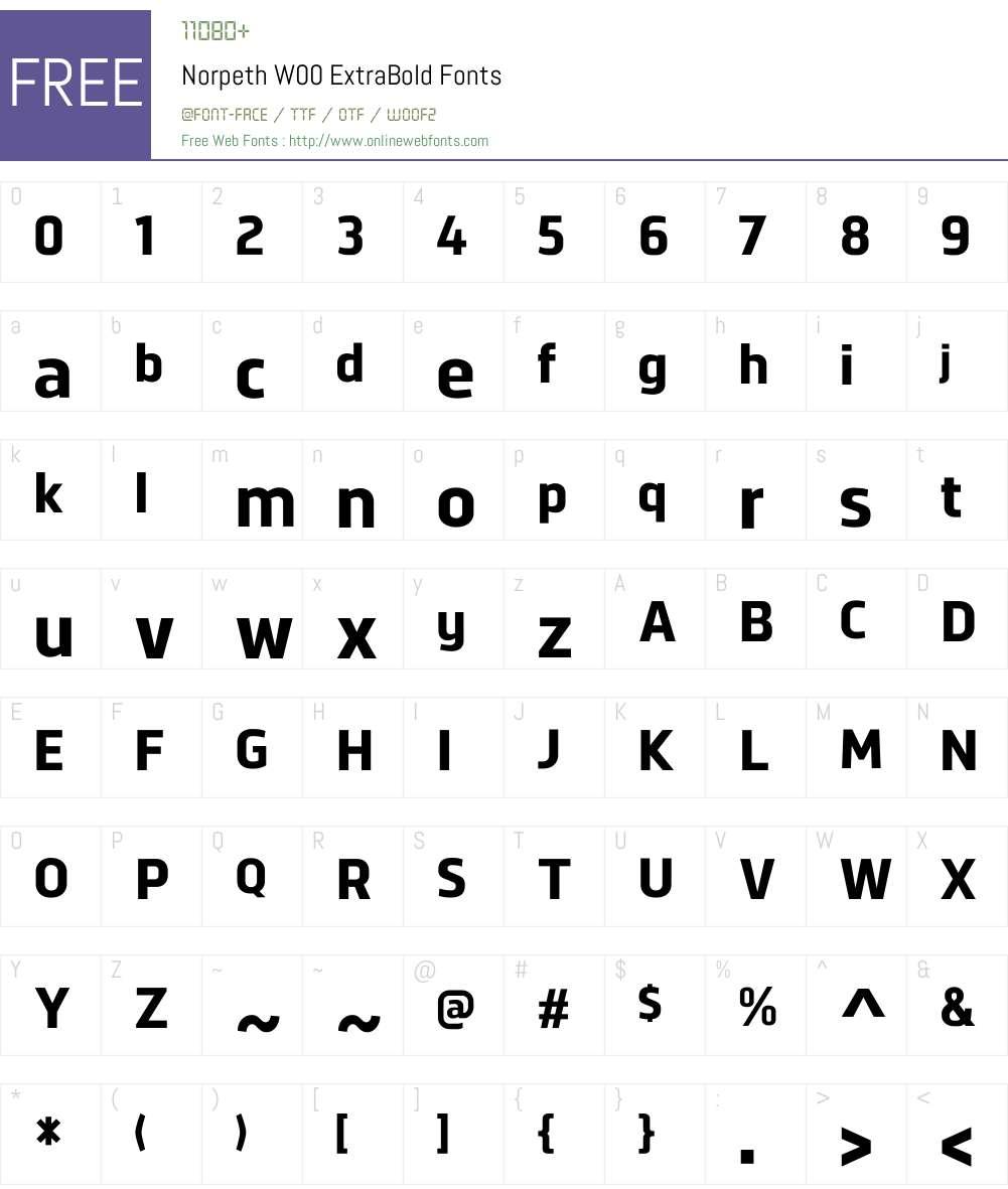 NorpethW00-ExtraBold Font Screenshots