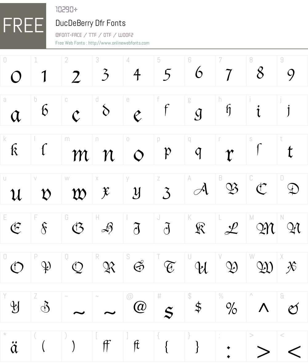 DucDeBerry Font Screenshots