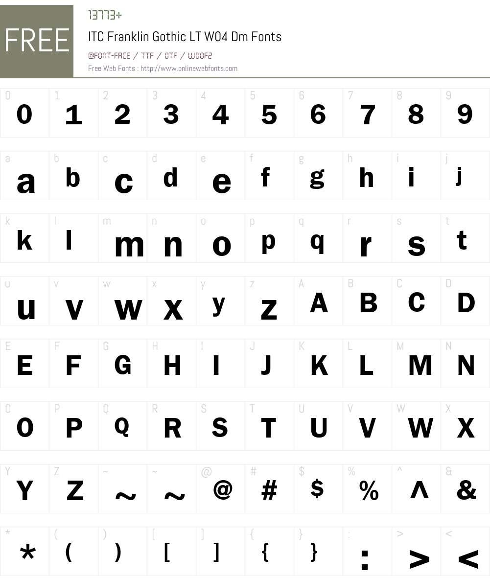 ITC Franklin Gothic Font Screenshots