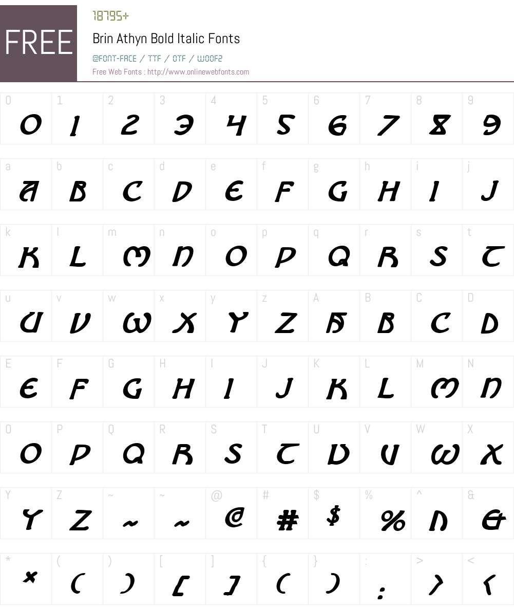 Brin Athyn Bold Italic Font Screenshots