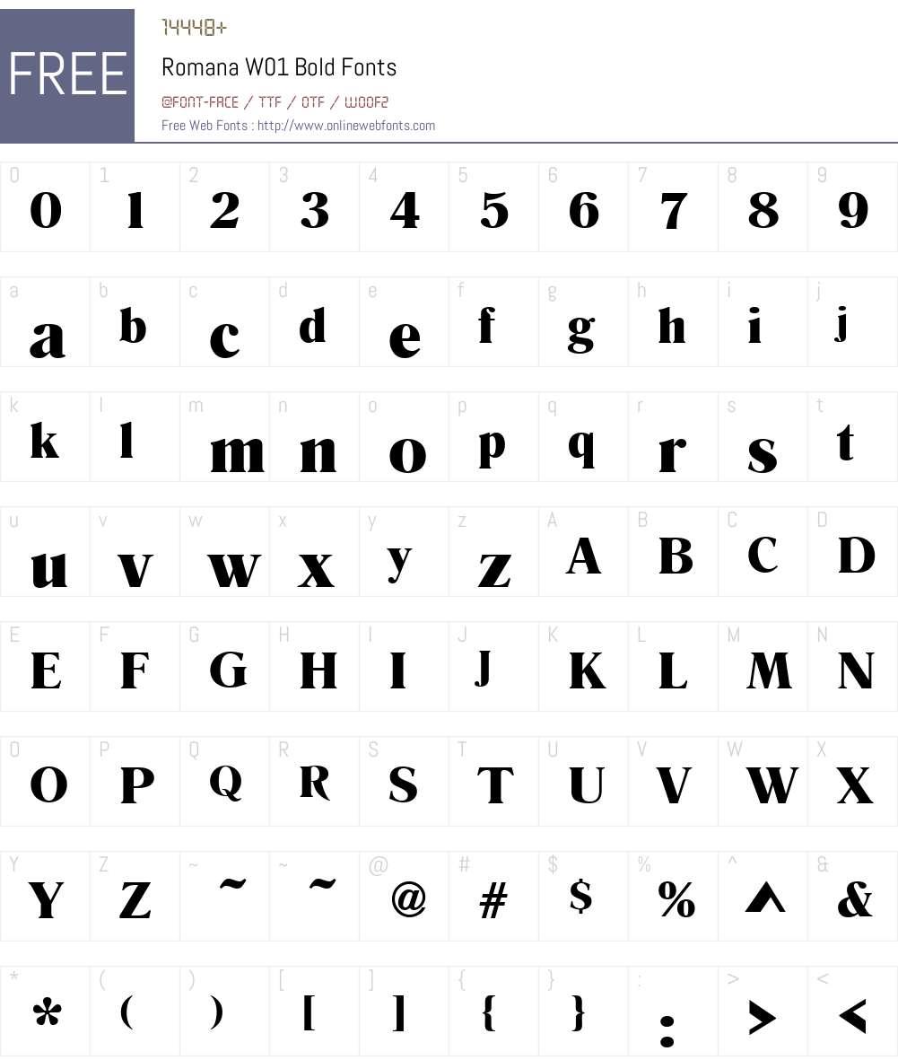 RomanaW01-Bold Font Screenshots
