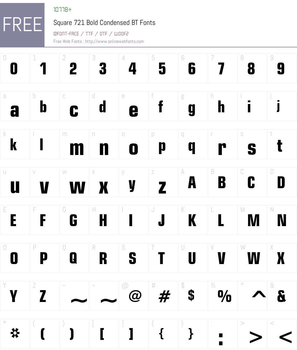 Square721 Cn BT Font Screenshots