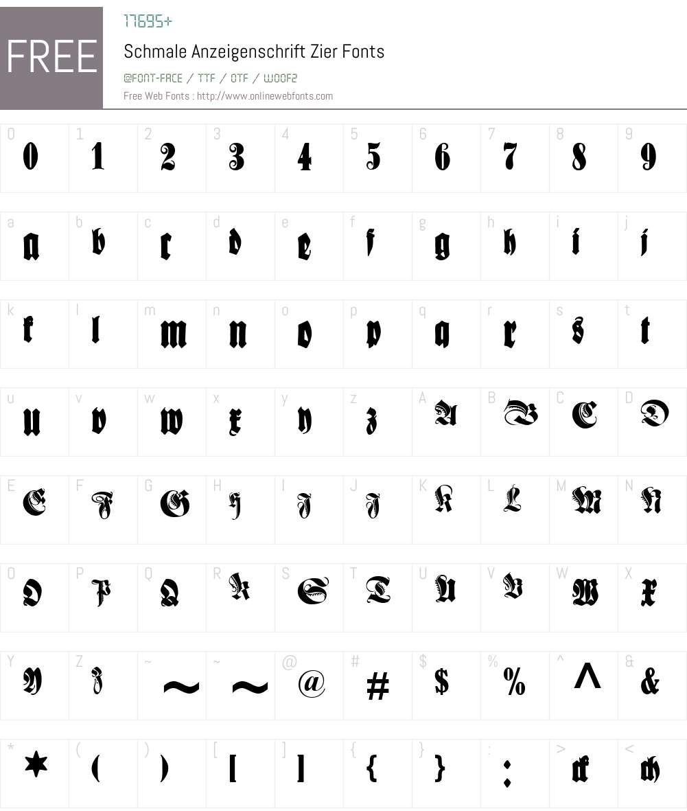 Schmale Anzeigenschrift Font Screenshots