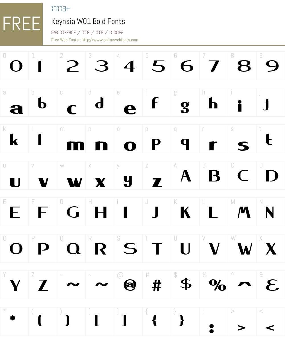 KeynsiaW01-Bold Font Screenshots