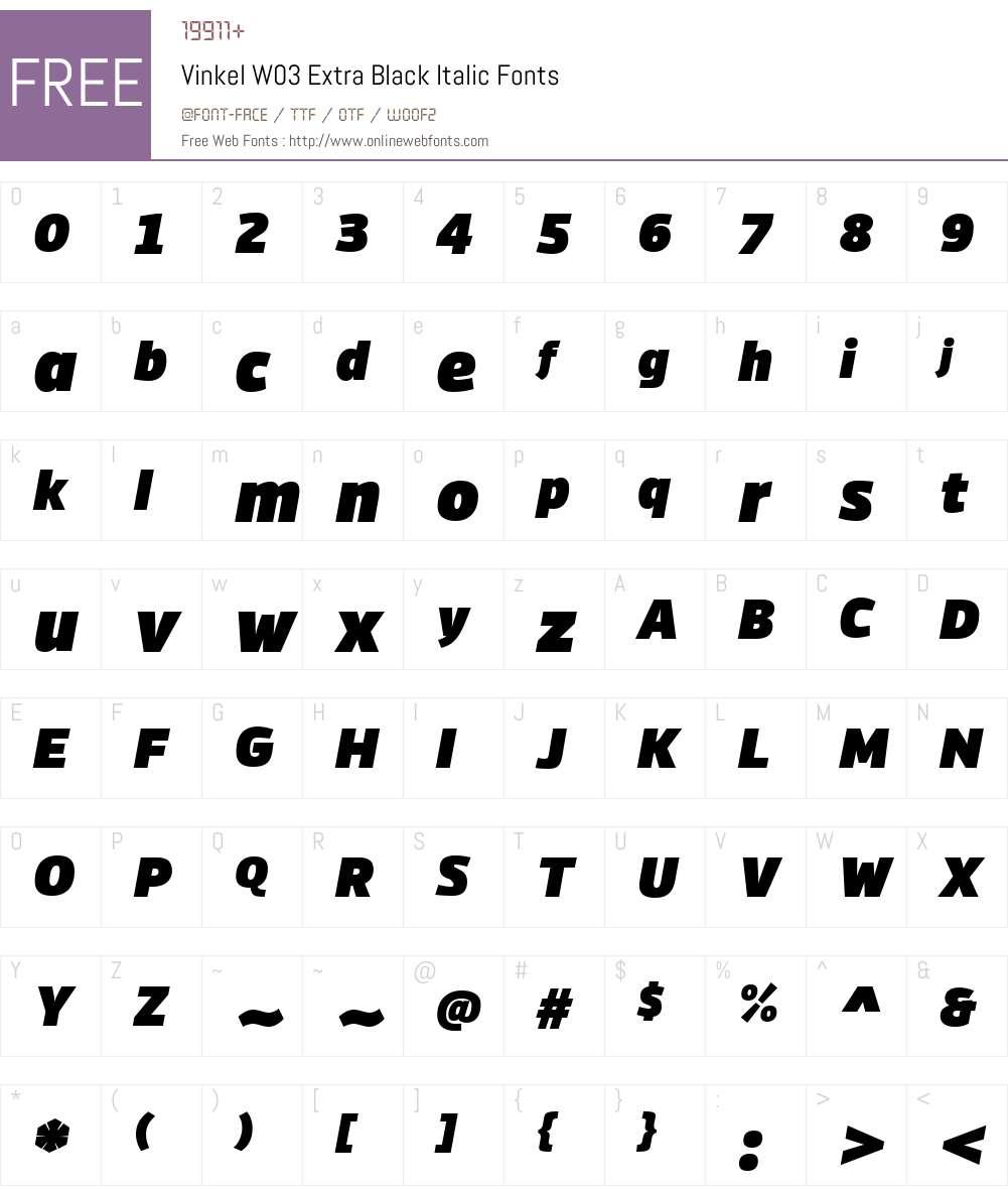 Vinkel Font Screenshots