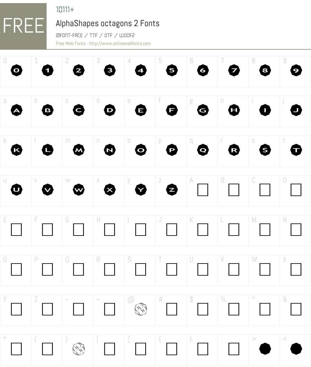 AlphaShapes octagons 2 Font Screenshots