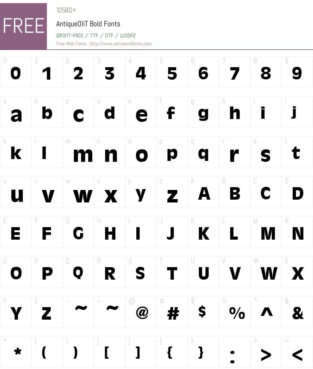 AntiqueOliT Font Screenshots