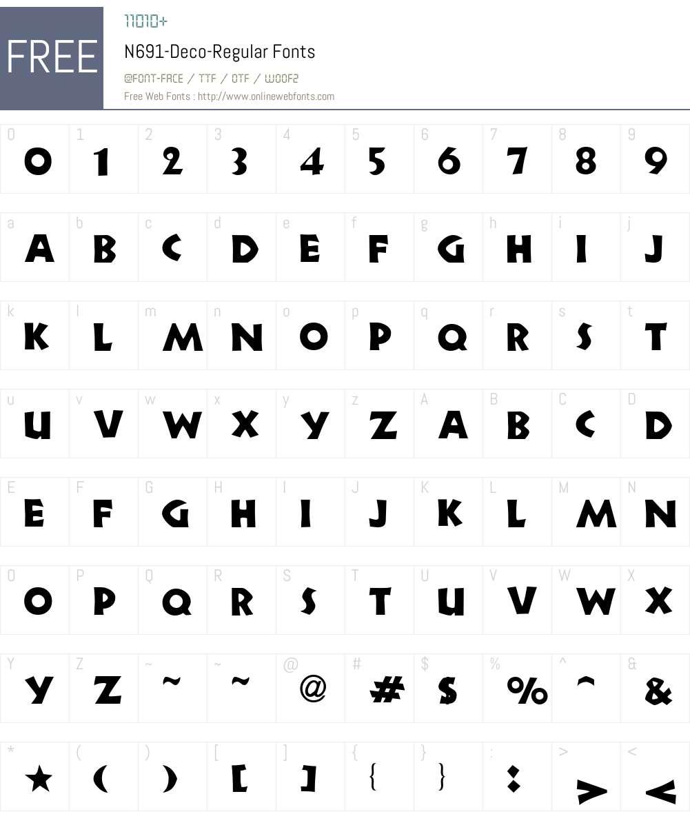 N691-Deco Font Screenshots
