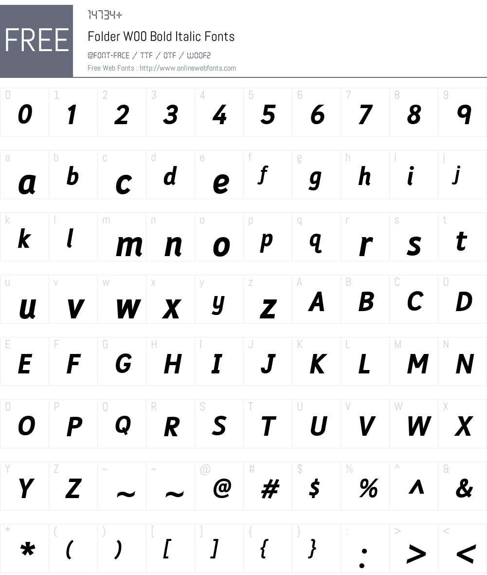 FolderW00-BoldItalic Font Screenshots