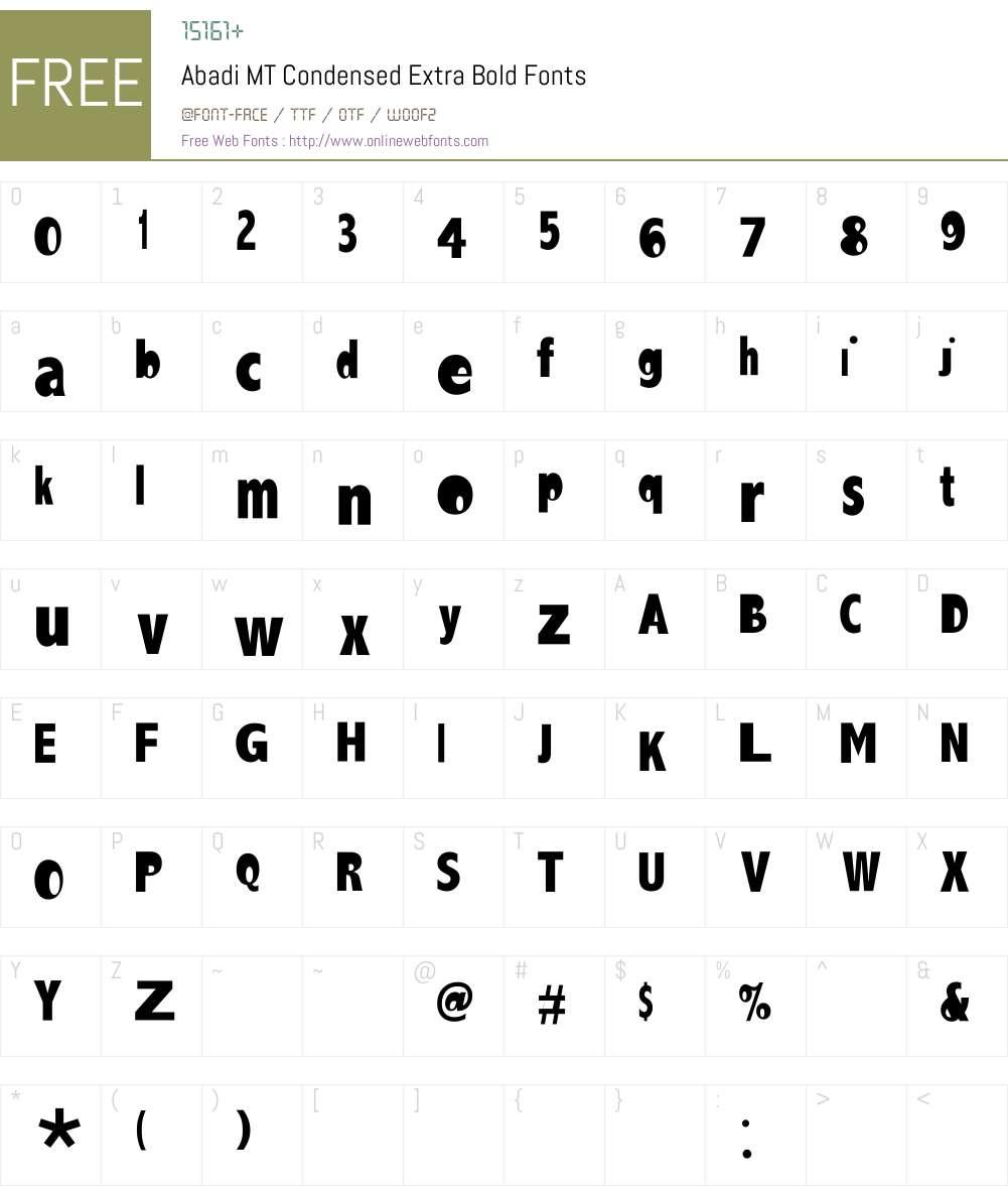 Abadi MT Condensed Extra Bold Font Screenshots