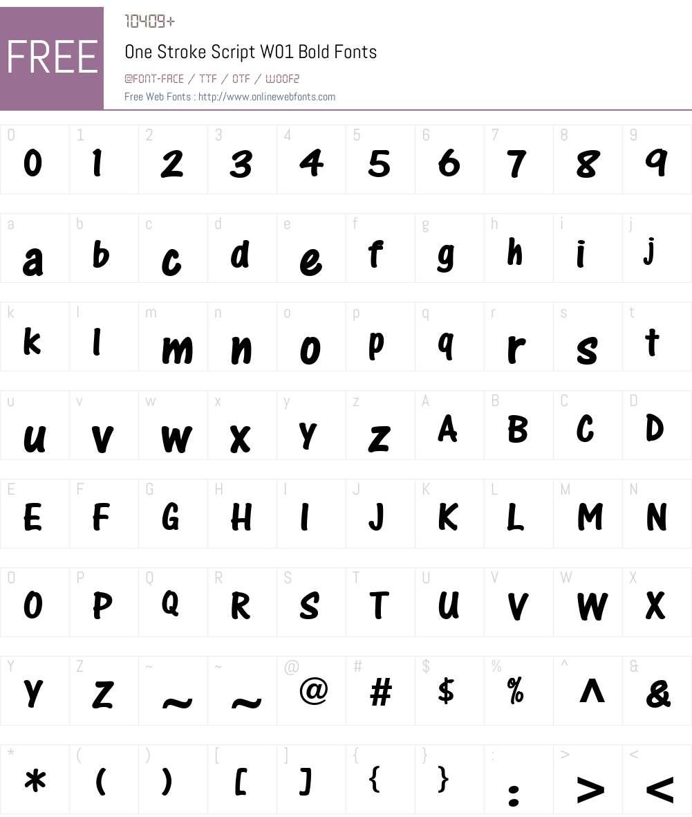 OneStrokeScriptW01-Bold Font Screenshots
