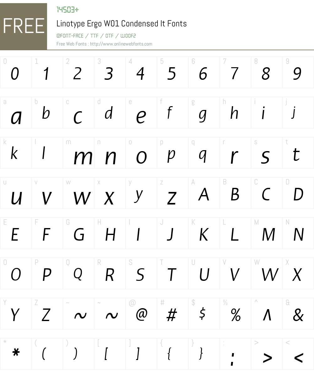 LinotypeErgoW01-CondensedIt Font Screenshots