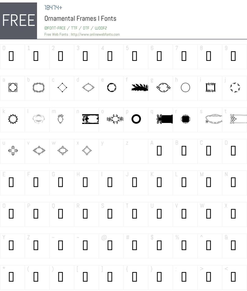 Ornamental Frames I Font Screenshots