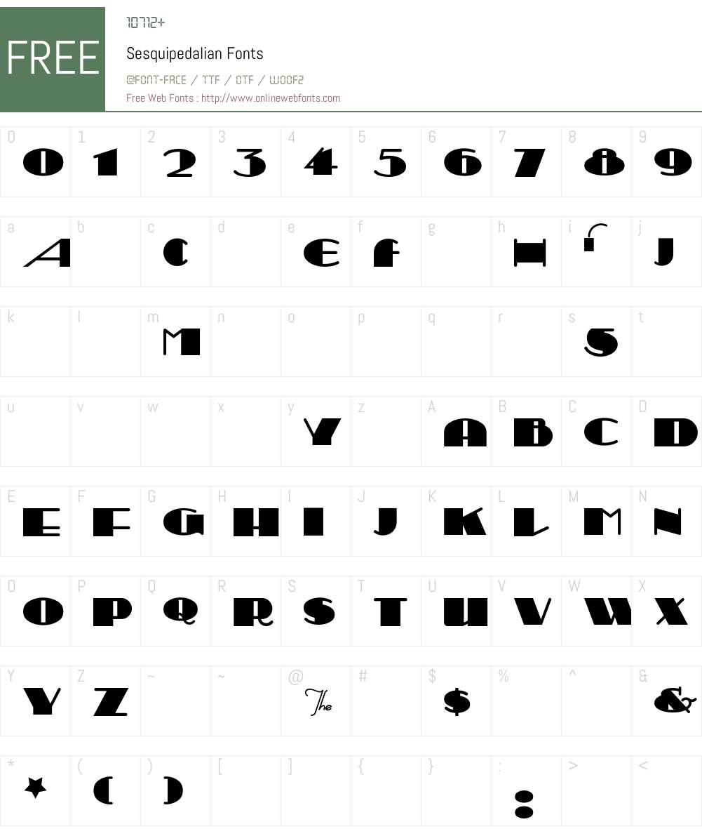 Sesquipedalian Font Screenshots