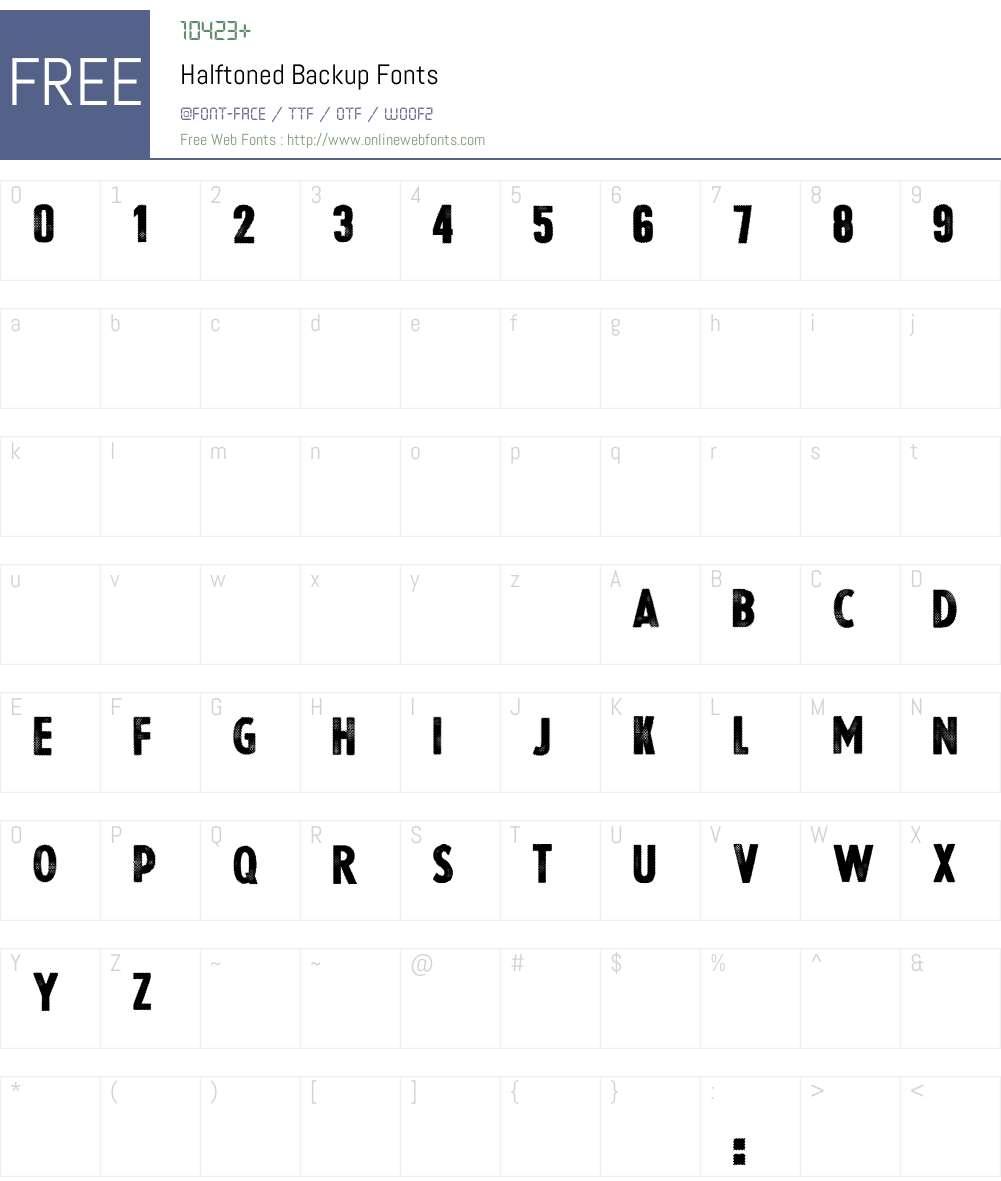 Halftoned Backup Font Screenshots