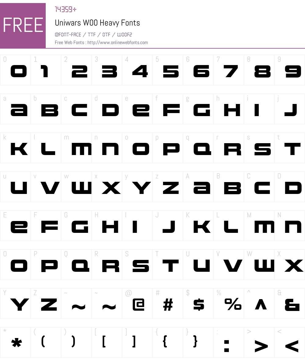 UniwarsW00-Heavy Font Screenshots