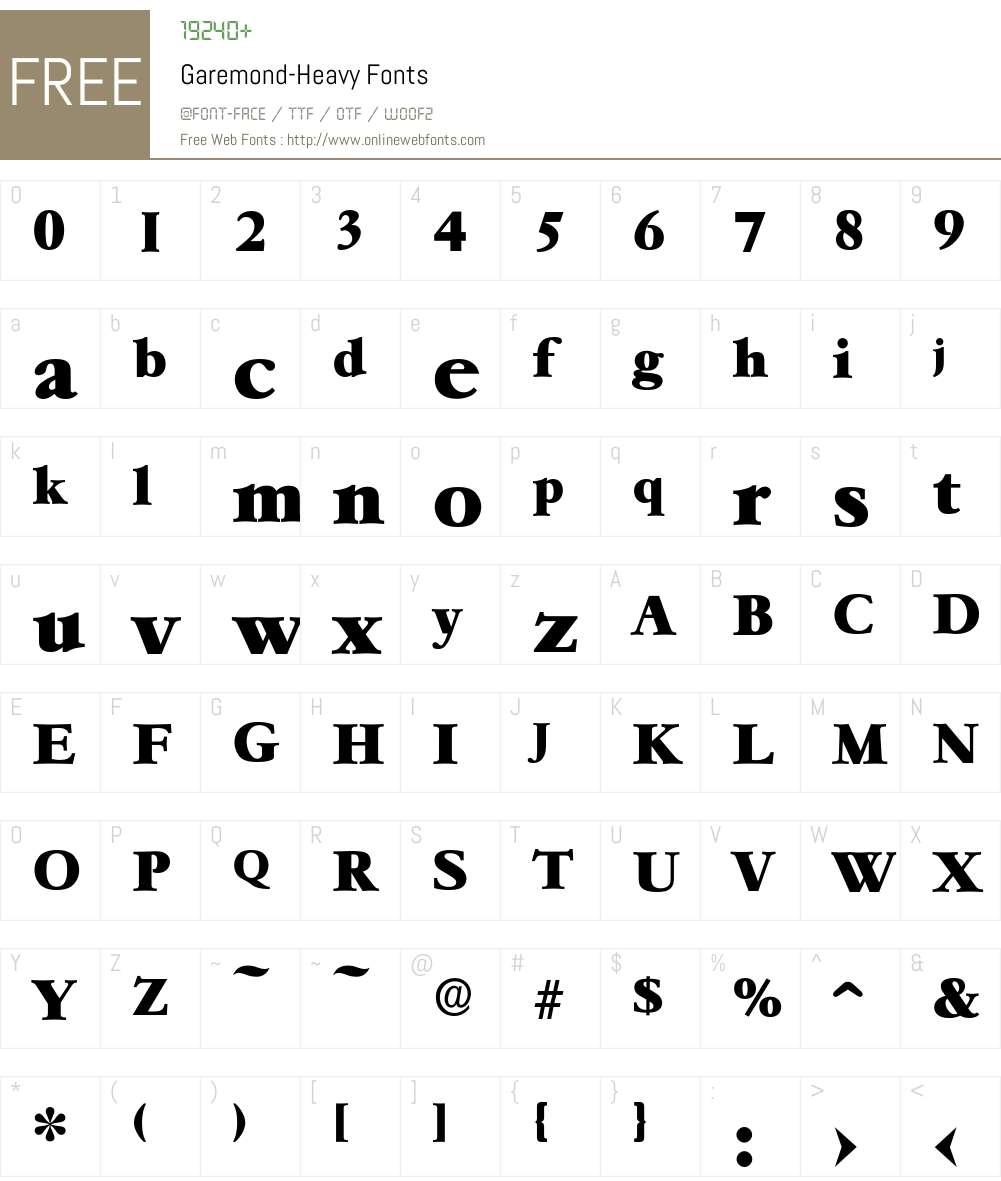 Garemond-Heavy Font Screenshots